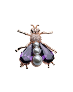JCB Collection Brooch or Necklace - Amethyst and Pearl Fly
