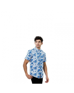 7 Diamonds All Of Me Short Sleeve Shirt - Blue Floral