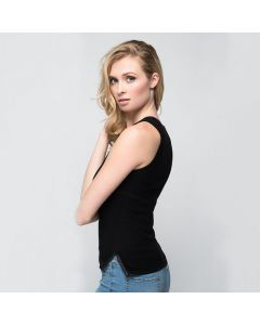 Aspen True 100% Cashmere Tank Top With Split Seams - Leather Piping
